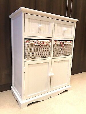 White Storage Unit 2 Cupboard 2 Wicker Drawer Basket Flower Pink Girls Furniture • 99.95£