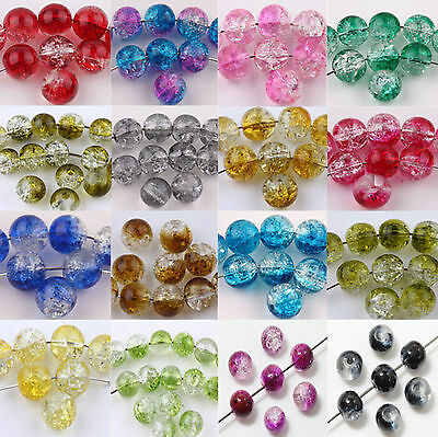 $ CDN6.18 • Buy Wholesale Glass Round Crackle Loose Spacer Charms Beads Jewelry Making 6/8/10mm
