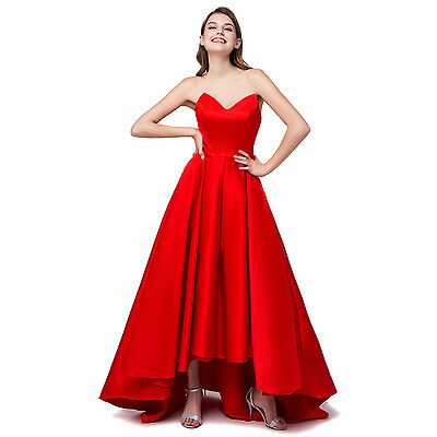 Red High Low Formal Evening Prom Gown Party Bridesmaid Dresses Stock Sz 6-16 • 49£