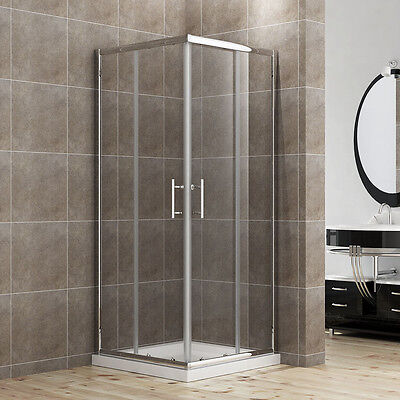 Shower Enclosure Corner Entry Cubicle Sliding Shower Door And Tray 6mm Glass • 233.99£