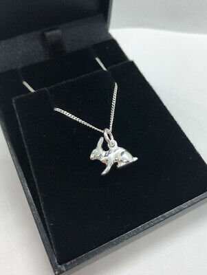 £16 • Buy 925 Sterling Silver Rabbit Bunny Necklace - Pendant + Curb Chain - Child + Adult