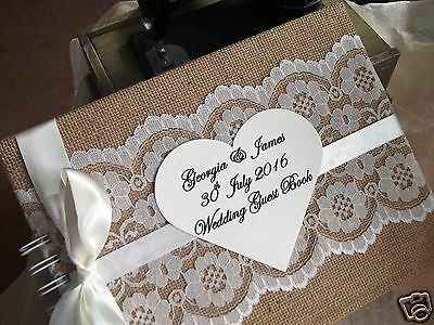 Personalised Large Vintage Wedding Guest Book Hessian & Lace Shabby Chic • 21.99£