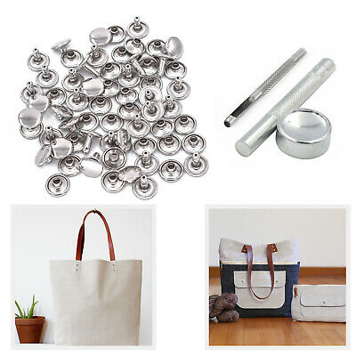 100pcs 8mm Double Cap Brass Rivets With Hand Tool Set For DIY Leather Purses Bag • 10.39£