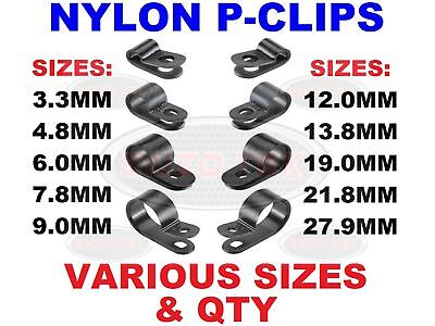 £2.65 • Buy Black Nylon Plastic P Clips - Fasteners For Conduit, Cable, Tubing & Sleeving