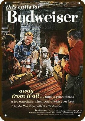 $ CDN30.37 • Buy 1962 BUDWEISER BEER Vintage Look DECORATIVE METAL SIGN MEN & DOG - SMOKE CABIN F