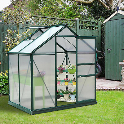 Outsunny 6x4ft Walk-In Polycarbonate Greenhouse Plant Grow Galvanized Aluminium • 289.99£