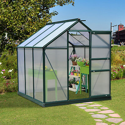 Outsunny 6x6ft Walk-In Polycarbonate Greenhouse Plant Grow Galvanized Aluminium • 339.99£