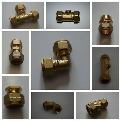 £1.99 • Buy 6mm- 22mm Brass Compression Fittings-Straight Elbow ,tee,plumbing,copper Pipe