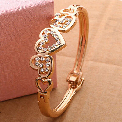 $1.13 • Buy Fashion Women Lady Gold Plated Crystal Cuff Bangle Love Heart Charm Bracelet One
