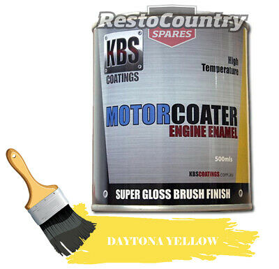 AU74.90 • Buy KBS Motor Coater Engine Enamel 500mls DAYTONA RACE YELLOW High Temp Paint