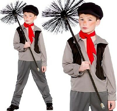 £13.99 • Buy Childrens Boys Poor Victorian Chimney Sweep Fancy Dress Costume Childs Outfit W
