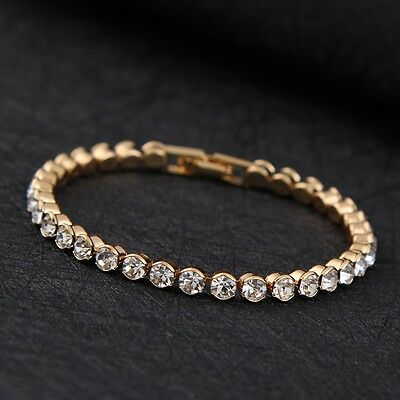 £7.25 • Buy 14K Gold Plated MADE WITH SWAROVSKI CRYSTALS Tennis Bracelet Mothers Day Gift