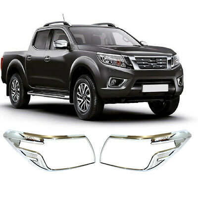 £22.99 • Buy Fit NISSAN NAVARA NP300 2016 CHROME FRONT HEAD LIGHT LAMP COVERS TRIMS SURROUND