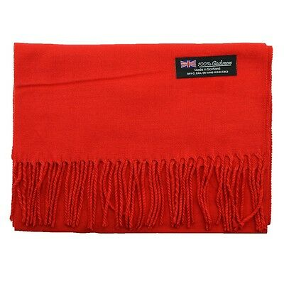 $6.66 • Buy Men's 100% CASHMERE Warm PLAIN Scarf Pure Solid Red Wool MADE IN SCOTLAND