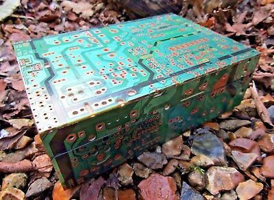 Hand Carved Made Wooden Recycled Circuit Board Jewellery Box Chest Case Holder  • 19.99£