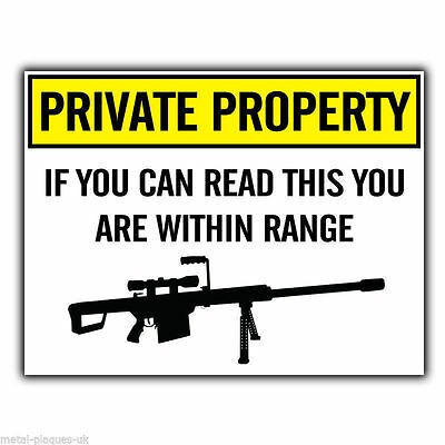 SIGN METAL PLAQUE PRIVATE PROPERTY SNIPER GUN WARNING Humorous Funny Poster • 4.99£