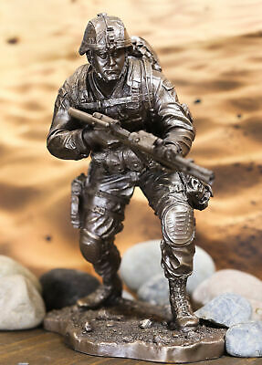 $77.99 • Buy Ebros Military Marine Infantry Soldier With Rifle Taking Ground Statue 9.5 Tall
