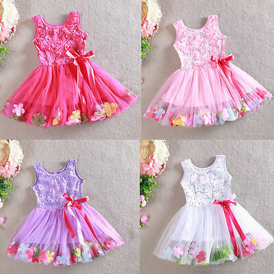 AU17.95 • Buy Girls Floral Dress Pearl Bow Lace Tulle TuTu Party Birthday Size 1-7 Years