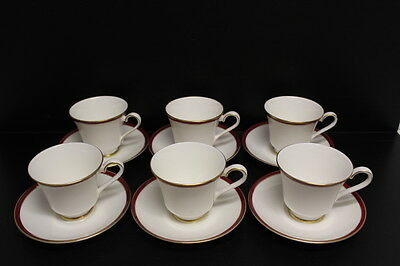 Lot Of 6 Minton Bone China SATURN Red Royal Doulton Tea Cup And & Saucer Set • 67.97£