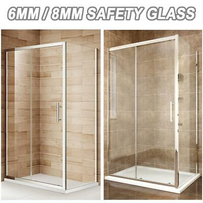 Sliding Shower Doors Enclosure And Tray 6mm/8mm Glass Screen Shower Cubicle • 318.99£