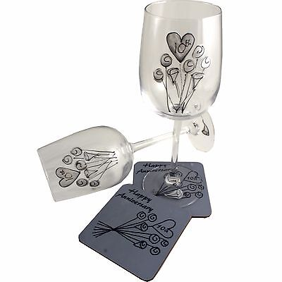 10th Wedding Gift Set: Wine Drinking Glasses And Drinks Coasters Tin Anniversary • 38.95£