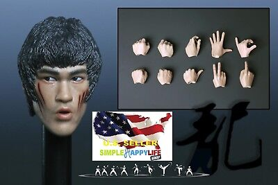 $51.44 • Buy 1/6 Bruce Lee Head Sculpt 7.0 Battle V. W/ Hands For Hot Toys Phicen M32 ❶USA❶
