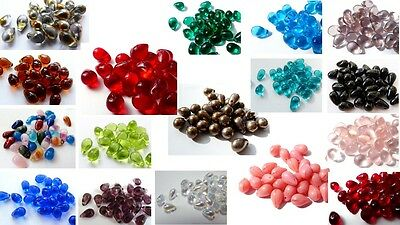 9 (mm) 10 (mm) CZECH GLASS TEARDROP/DROP BEADS - VARIOUS COLOURS/QUANTITIES • 1.99£