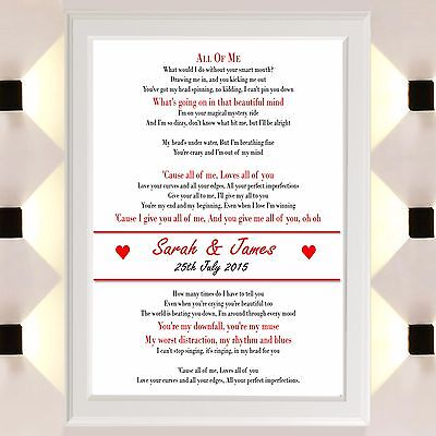 AU5.52 • Buy Personalised Valentines Gifts For Her Him All Of Me Lyrics Anniversary Love Day