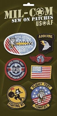 £9.49 • Buy PACK OF US AIRFORCE BADGES 7 Top Gun Army Military Sew On Cloth Patches On Card
