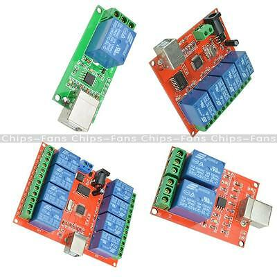 £7.86 • Buy 5V/12V USB Relay 1/2/4/8 Ch Programmable Computer Control Relay For Smart Home