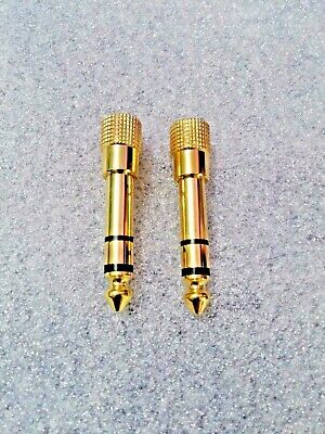 Stereo 6.3mm (1/4 ) To 3.5mm (1/8 ) Jack Adapter PAIR • 2.49£