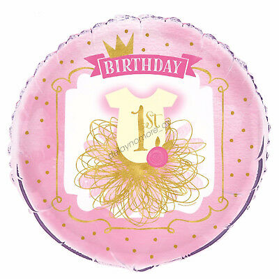 AU4.99 • Buy First 1st Birthday Party Decoration Pink Gold Helium Air Foil Balloon 45cm Girl