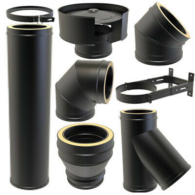 Twin Wall Insulated Flue Pipe Black HETAS Certified - Wood Burning - Multi-fuel • 25.99£