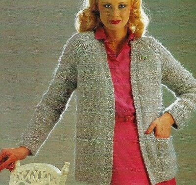 #213 Ladies Easy Knit Mohair Jacket 32-40   Vintage Knitting Pattern  • 2.59£
