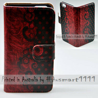 AU14.98 • Buy For OPPO Series Red Vintage Polka Dot Print Wallet Mobile Phone Case Cover