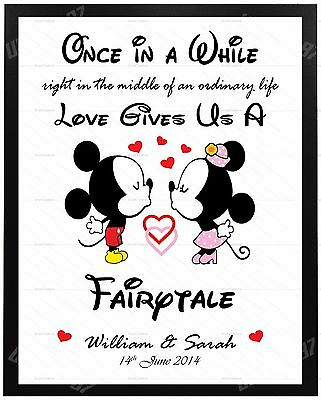 AU6.99 • Buy Valentines Day DISNEY Gifts PERSONALISED For Him Her Anniversary Present MR MRS