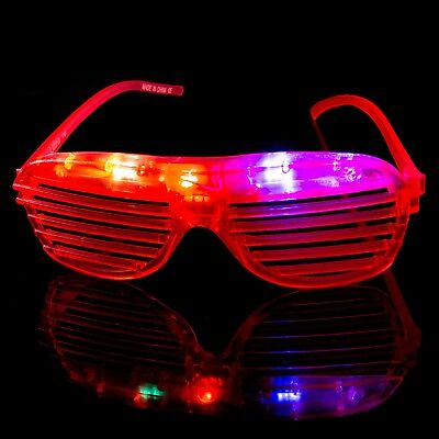 Red Flashing LED Shutter Glasses Light Up Rave Slotted Party Glow Shades Fun UK • 5.49£