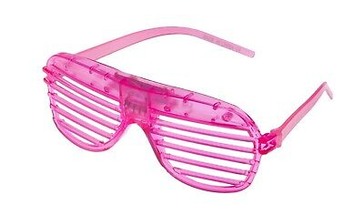 Pink Flashing LED Shutter Glasses Light Up Rave Slotted Party Glow Shades Fun UK • 5.49£