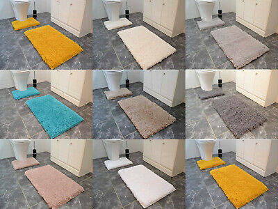 Bath Mats Very Thick Soft Shaggy Rubber Backed 2 Piece Toilet Pedestal Set Rugs • 12.99£