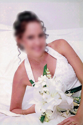 AU79 • Buy White Wedding Dress Size 8 Beaded Fitted Slim Simple Holter Neck With Train