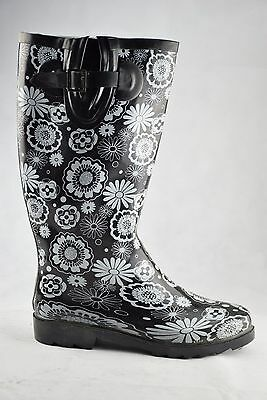 Stormwells Black White Flowers Wellingtons Ladies Rain Boots Wellies Buckle • 19.99£