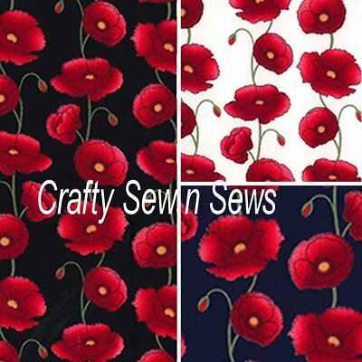 £7.50 • Buy Cotton Poplin Poppy Fabric - Material Floral Poppies - 460