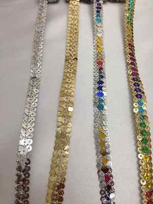 Silver/Gold Sequin Braid Sewing,Crafts,Costume,Trimming,Decorative  9Yards X10mm • 3.49£