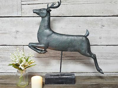 Antique Leaping Stag Interior Ornament Mantelpiece Animal Figure On Wood Stand • 58.99£