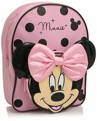 Disney Minnie Mouse 3D Ears Bow Backpack Pink School Bag NEW OFFICIAL • 14.99£