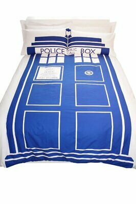 New Official Doctor Who Double Duvet Cover Set Tardis Police Box Design • 18.99£