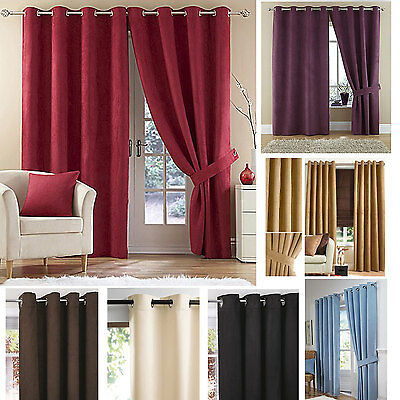 Suzy Faux Suede Eyelet Ring Top Lined Curtains (Pair Of) Ready Made • 10£