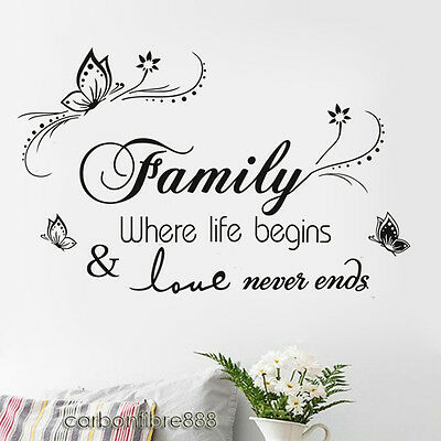 £4.99 • Buy Family Wall Stickers Quote Art Decal Mural Paper Butterfly Vines Home Decoration