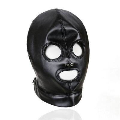 Leather Gimp Mask Fancy Dress Hood Eyes And Mouth Quality Item • 9.50£