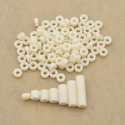 $0.99 • Buy 100 Pcs M3 Screws Spacer Washer ABS Plastic Hollow Standoff Insulation Supplies